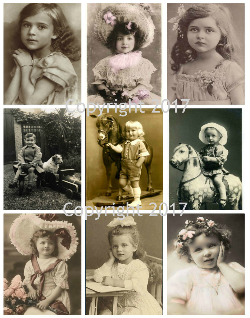 Vintage Children Photo Images #104 Printed Collage Sheet 8.5 x 11""