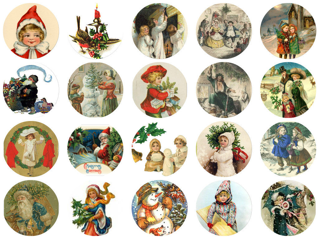 Printed Vintage Victorian Santa Christmas Circles Collage Sheet  #2, 8.5 x 11""