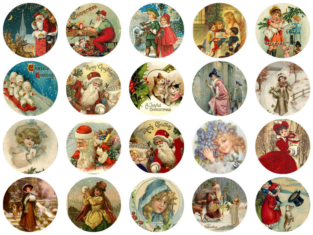 Printed Vintage Victorian Santa Christmas Circles Collage Sheet  #3, 8.5 x 11""