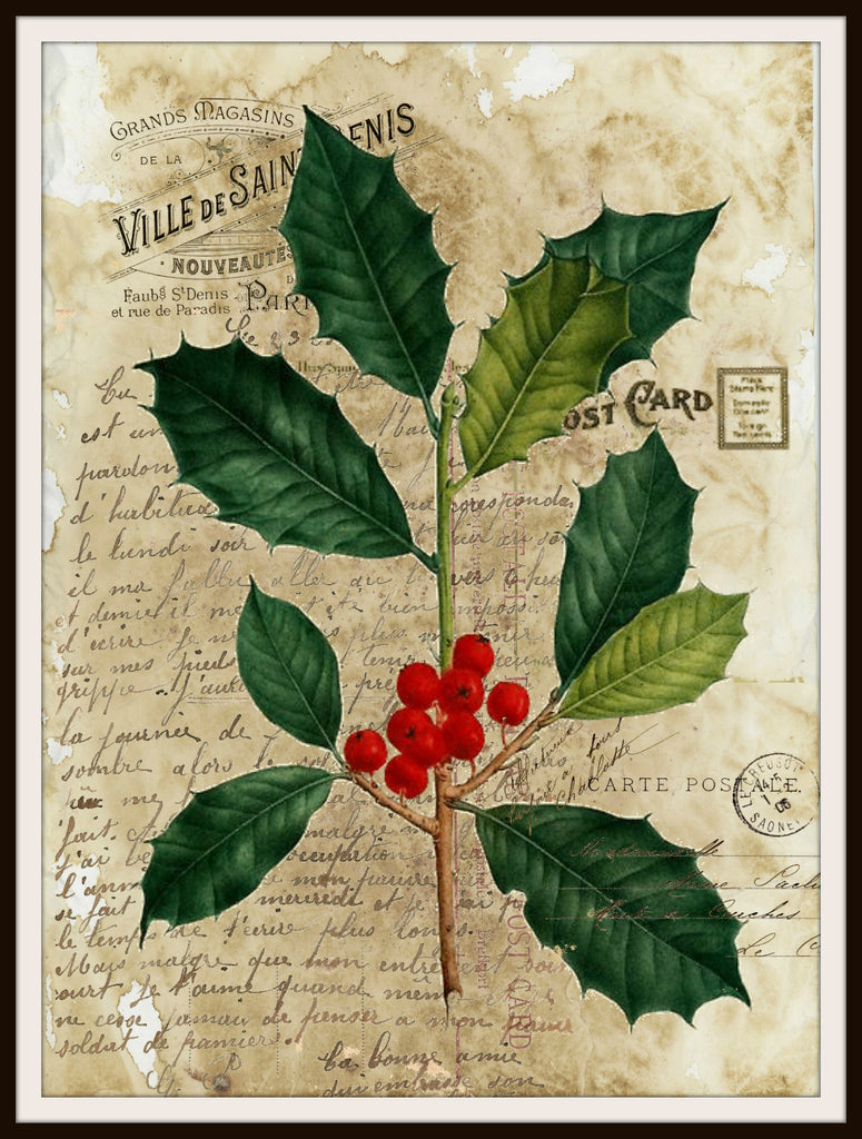 "Vintage Art Print Christmas Holly on Ephemera , Print Wall Decor, 8.5 x 11"" Unframed Printed Art Image"