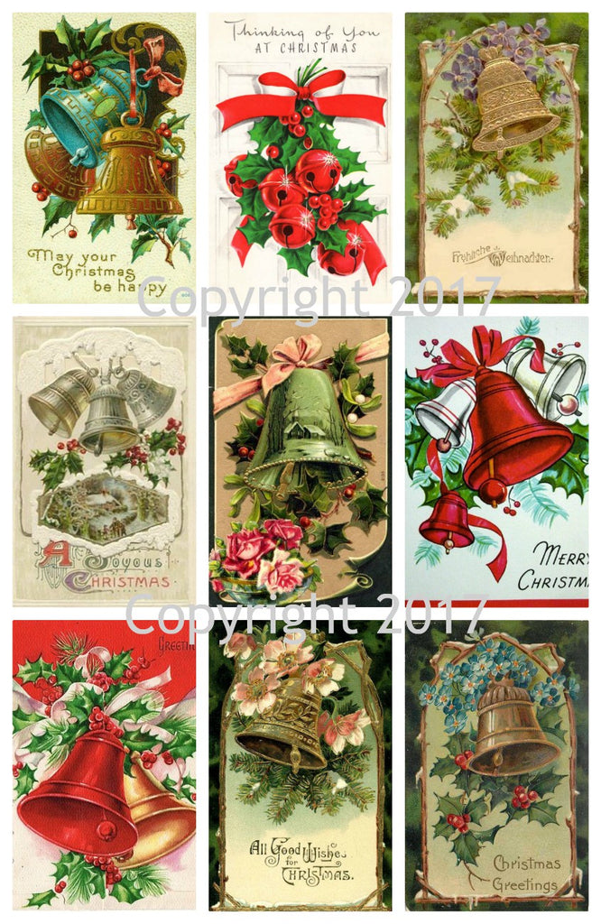Vintage Christmas  Card Bells Collage Sheet  #101