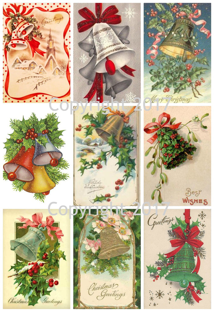 Vintage Christmas  Card Bells Collage Sheet  #102