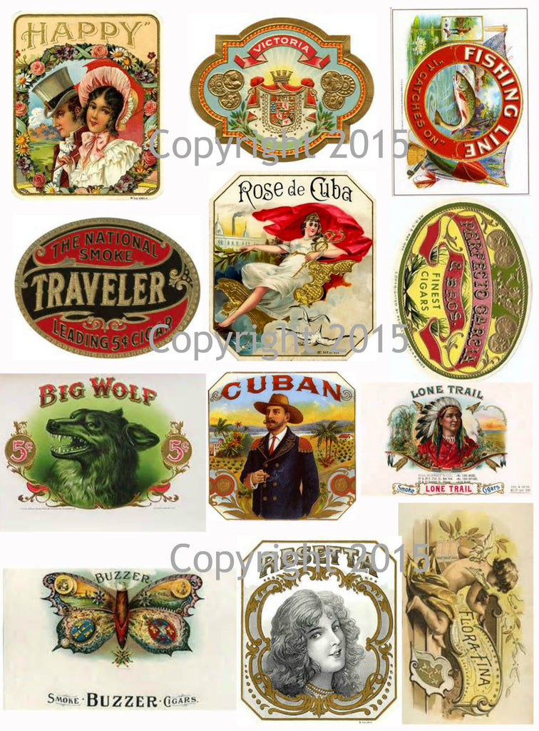 Vintage Cigar Labels Collage Sheet  #102