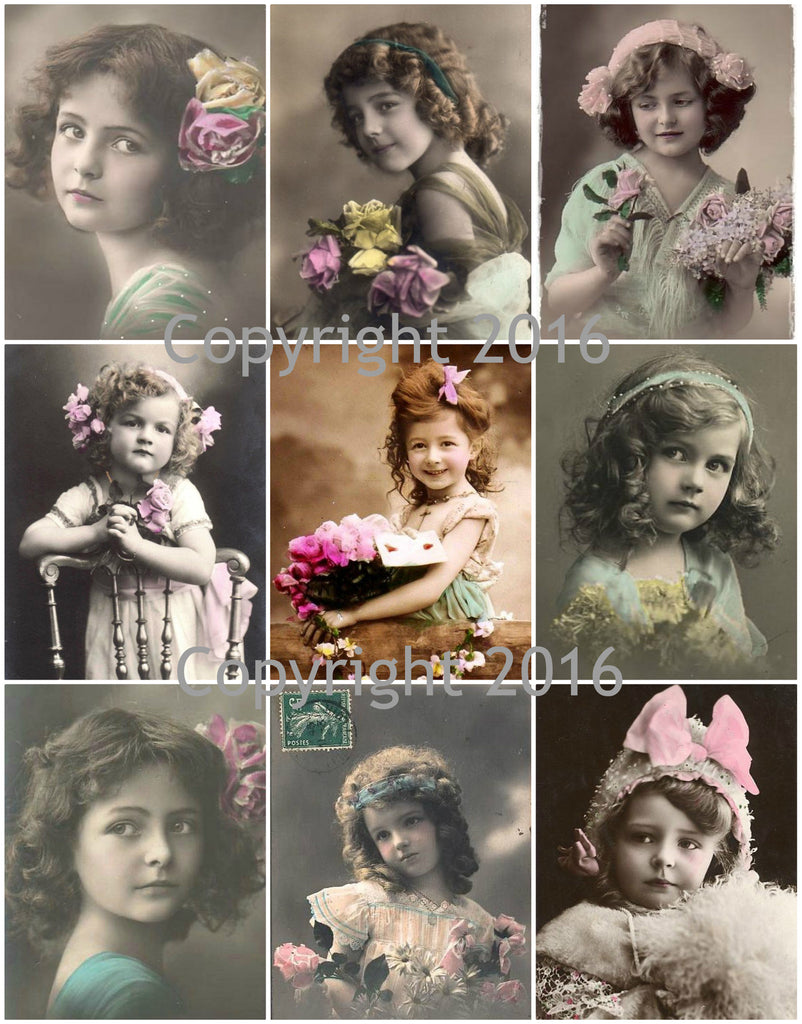 Vintage Children Photo Images #101 Printed Collage Sheet 8.5 x 11""
