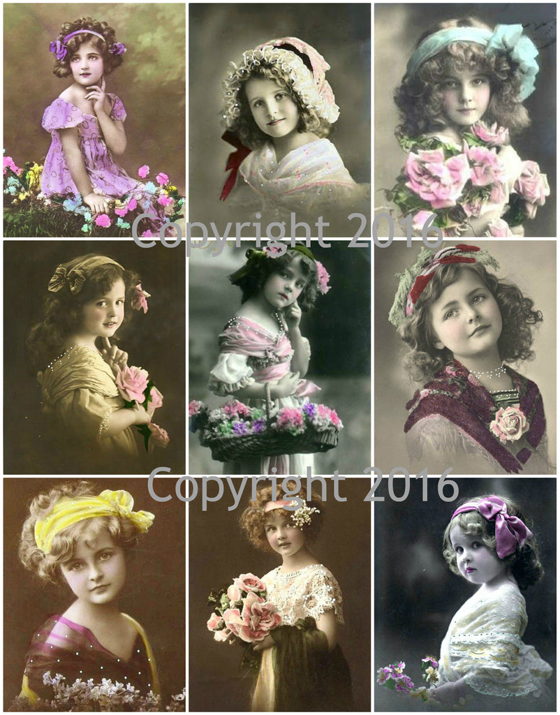 Vintage Children Photo Images #102 Printed Collage Sheet 8.5 x 11""