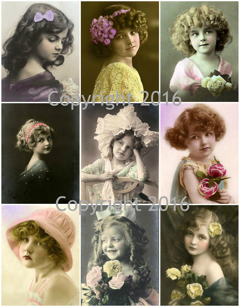 Vintage Children Photo Images #103 Printed Collage Sheet 8.5 x 11""