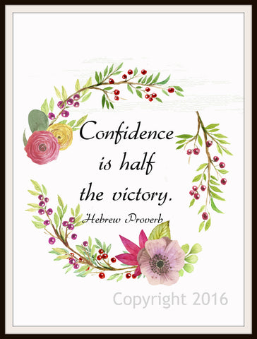 "Hebrew Proverb Art Print  ""Confidence is Half the Victory"", Wall Decor, 8 x 10"" Unframed Print, Motivational Quote"