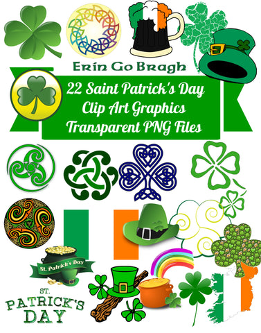 22 Celtic Saint Patricks Day Images Clip Art Transparent PNG Files Instant Download, Scrapbooking, Card making, digital