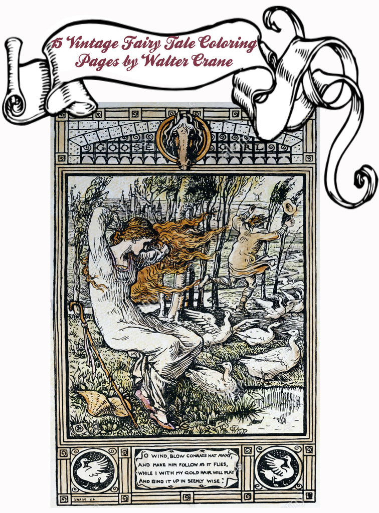 Fairy Tale Coloring Book for Adults  by Walter Crane To Print PDF Digital Download