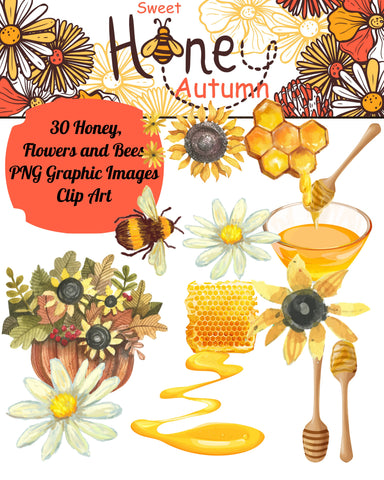 30 Assorted Sweet Honey Autumn Graphic Images Clip Art Transparent PNG Files Instant Download