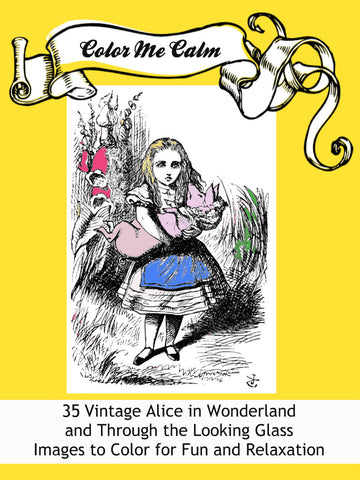 """Color Me Calm""  Alice in Wonderland Design Patterns Coloring Book for Adults To Print PDF Digital Download"