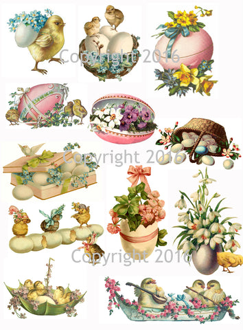 Vintage Easter Scrap Images Chicks and Eggs Printed Collage Sheet  #102