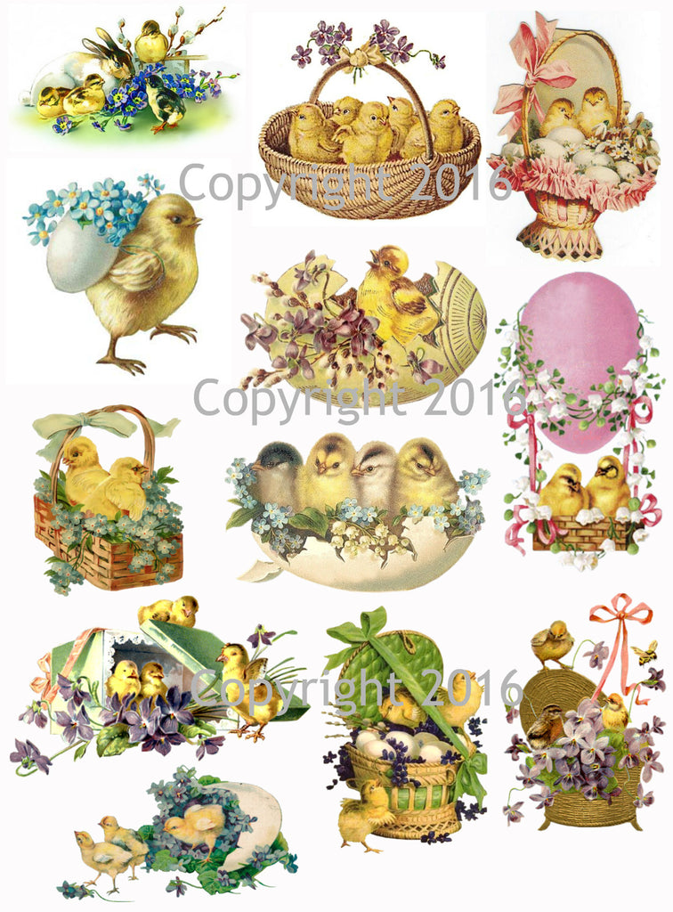 Vintage Easter Scrap Images Chicks and Eggs Printed Collage Sheet  #104