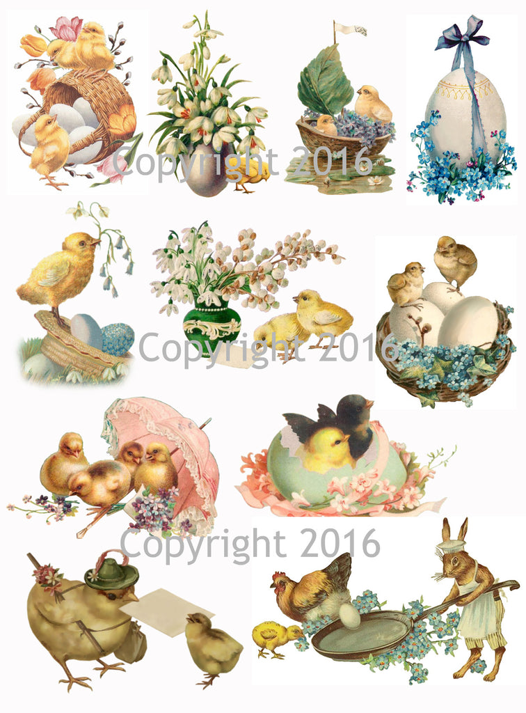 Vintage Easter Scrap Images Chicks and Eggs Printed Collage Sheet  #105