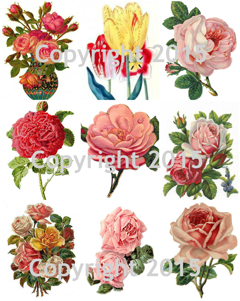 Victorian Flowers Collage Sheet #3 Printed Collage Sheet, Weddings, Decoupage, Scrapbook, Altered Art, Victorian Scrap