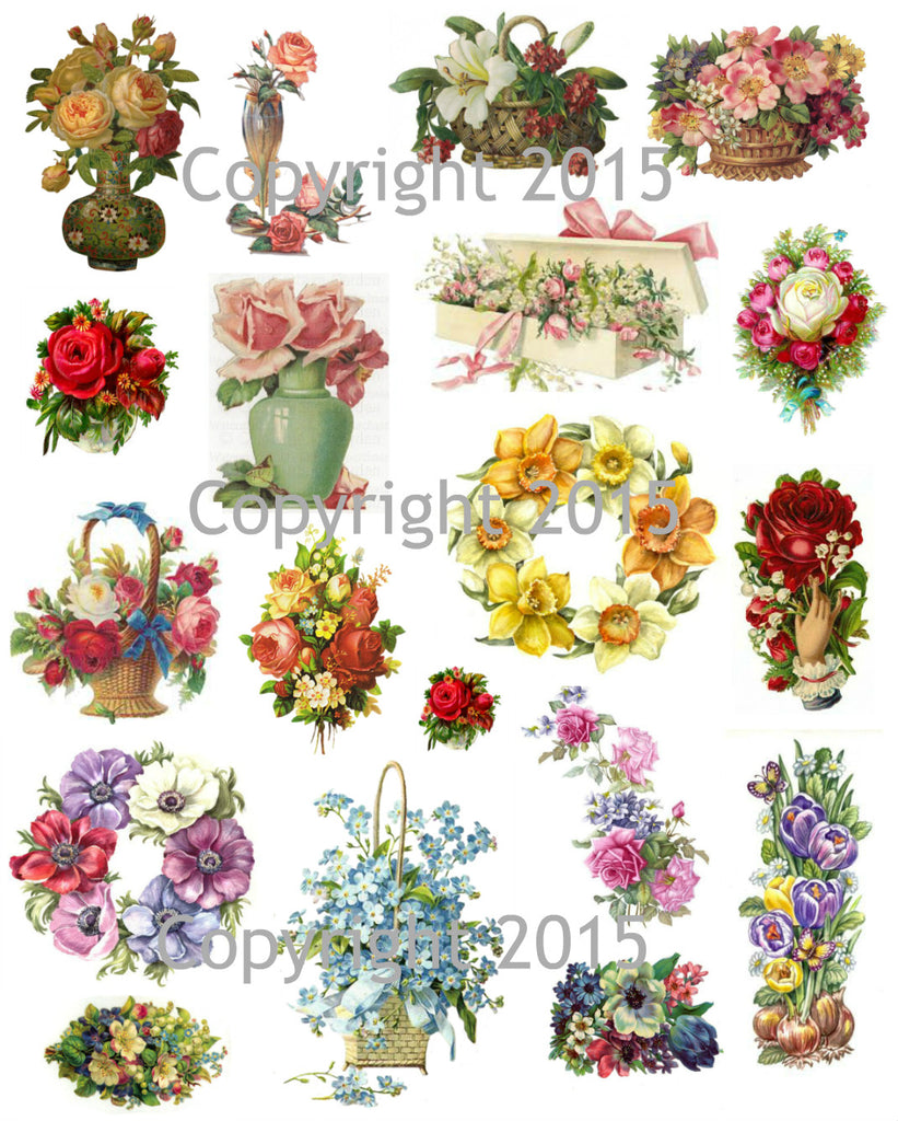 Victorian Flowers Collage Sheet #1 Printed Collage Sheet, Weddings, Decoupage, Scrapbook, Altered Art, Victorian Scrap