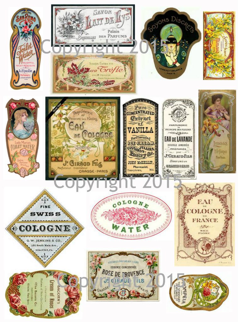 Vintage French  Perfume Labels #3 Collage Sheet for Instant download