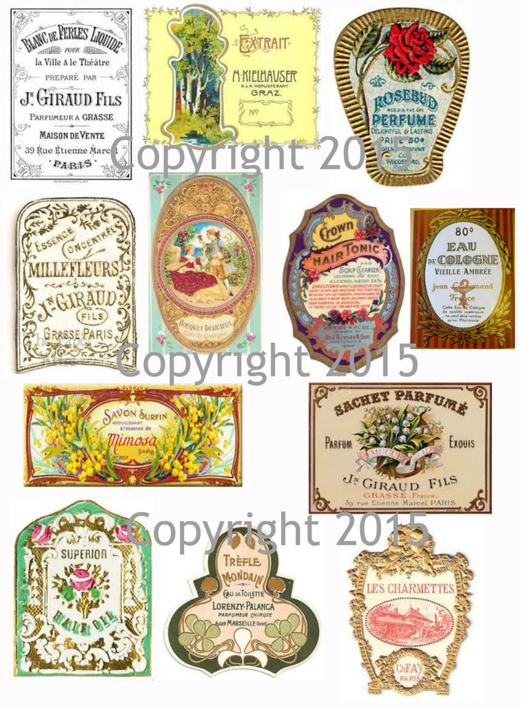 Vintage French  Perfume Labels #4 Collage Sheet for Instant download