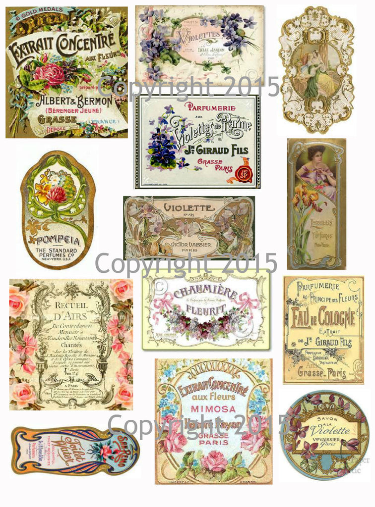 Vintage French  Perfume Labels #5 Collage Sheet for Instant download