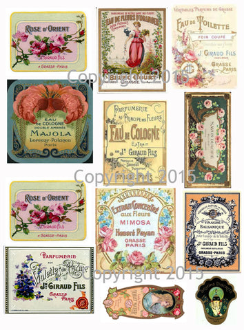 Vintage French  Perfume Labels #6 Collage Sheet for Instant download