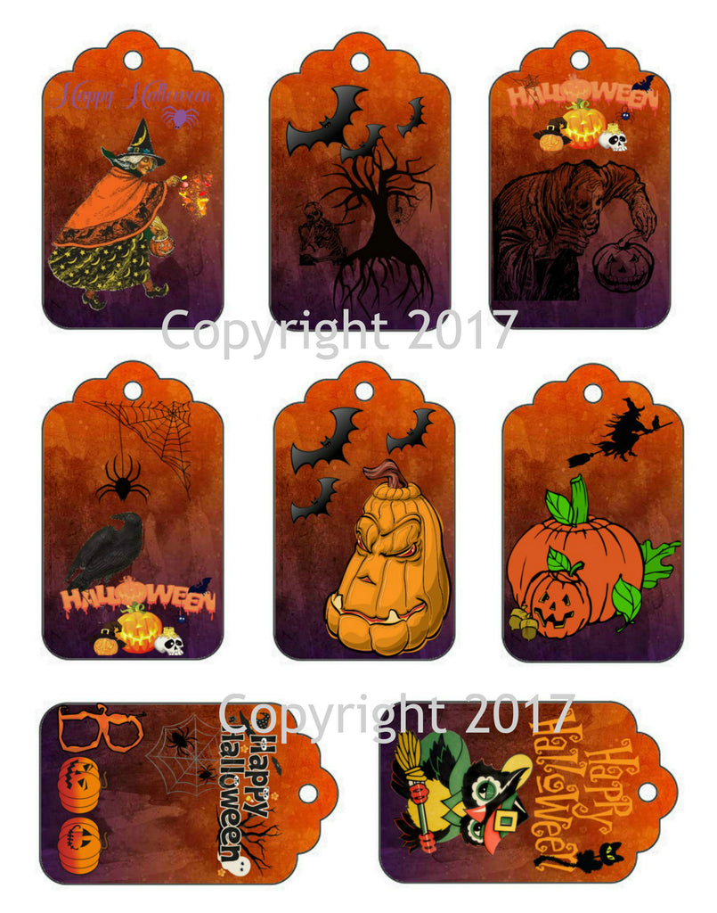 Halloween Gift Tags, Labels on one Sheet to Cut