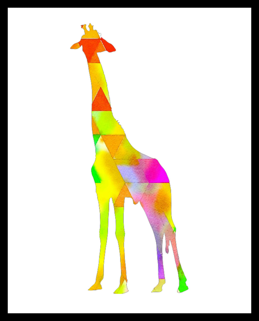 Printed Watercolor Art Print Giraffe Poster Art Image Unframed