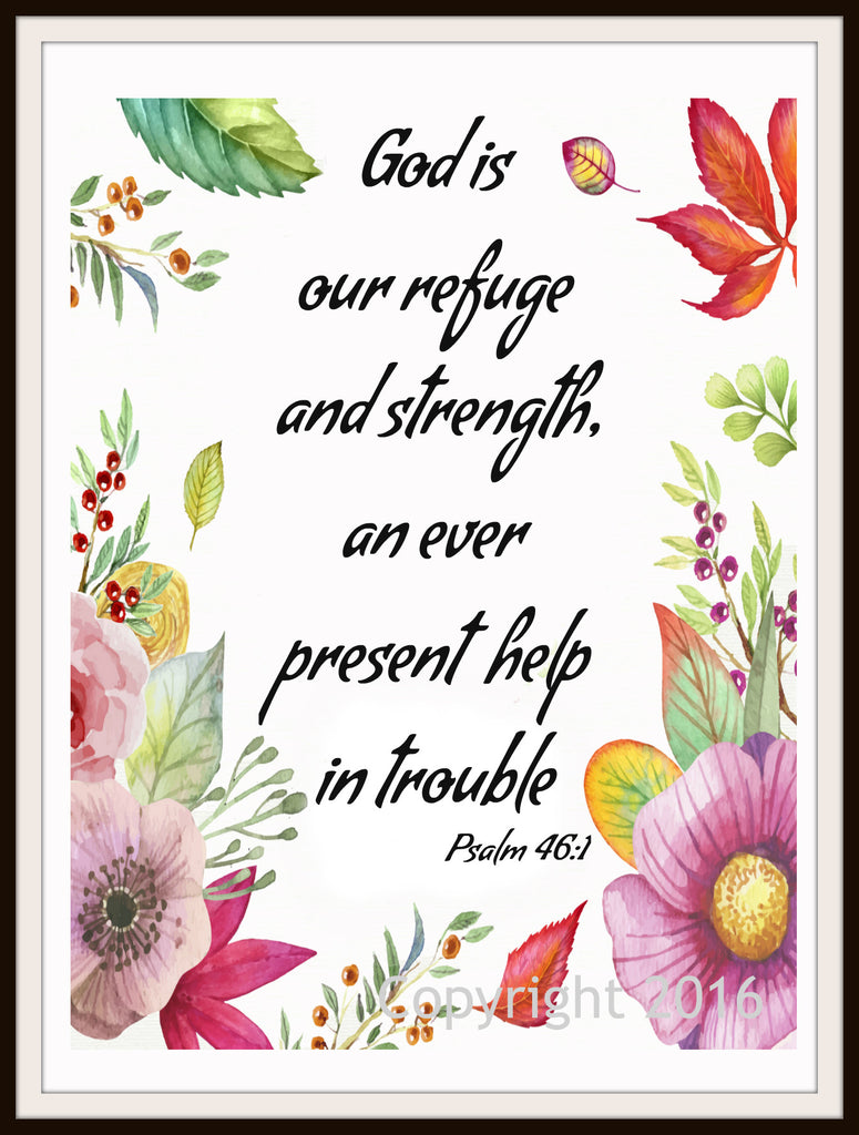 """God is Our Refuge"", Wall Decor, Unframed Printed Art Print Poster, Scripture Print, Motivational Quote Instant Download"