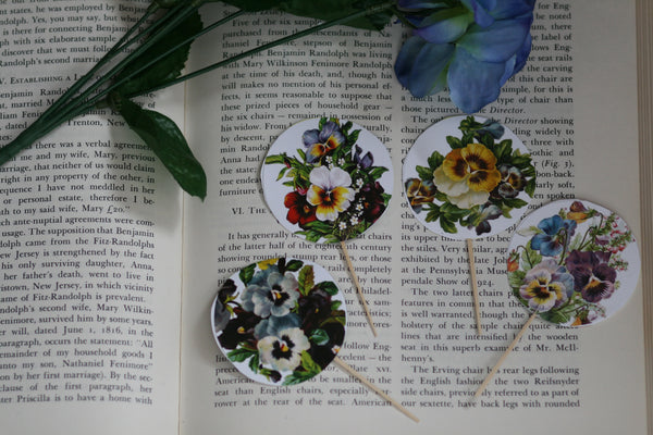 Pieces Pansy Flowers Circle Cupcake Toppers Picks for Birthday Decorations DIY Party Supplies