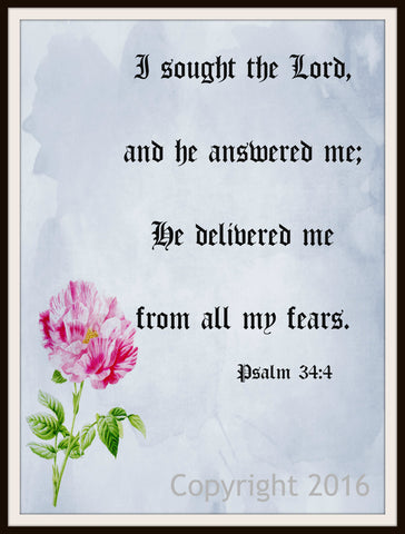 "Scripture Art Print  ""I Sought the Lord"", Wall Decor, 8 x 10"" Unframed Motivational Quote"