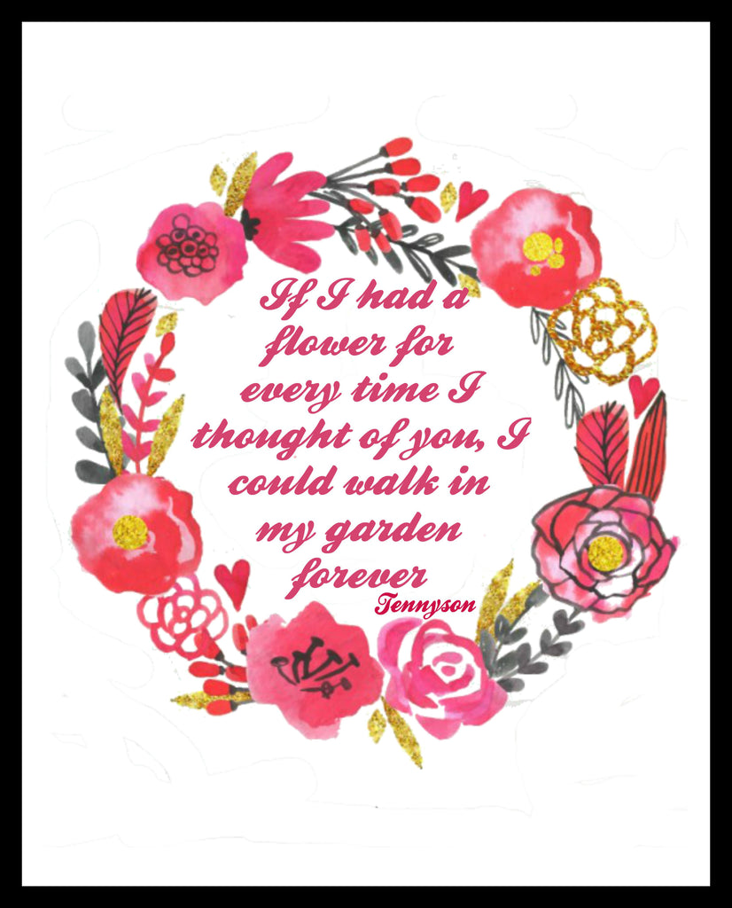 """If I Had a Flower"" Wall Decor, 8 x 10"" Unframed Print, Motivational Quote Instant Download"