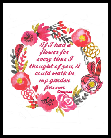 """If I Had a Flower"" Wall Decor, 8 x 10"" Unframed Print, Motivational Quote"