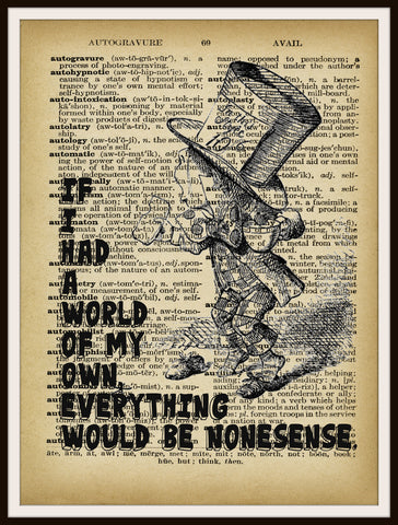 Alice in Wonderland Mad Hatter Vintage Art Print on Ephemera Dictionary Book Page Background, 8 x 10""