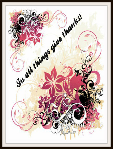"Scripture Art Print  ""In All Things Give Thanks"", Wall Decor, 8 x 10"" Unframed Motivational Quote"