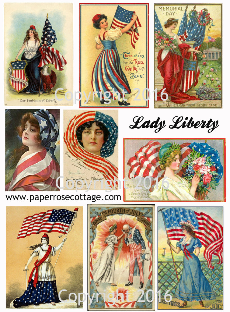 Printable Vintage Patriotic Lady Liberty 4th of July Cards Collage Sheet   To Download3