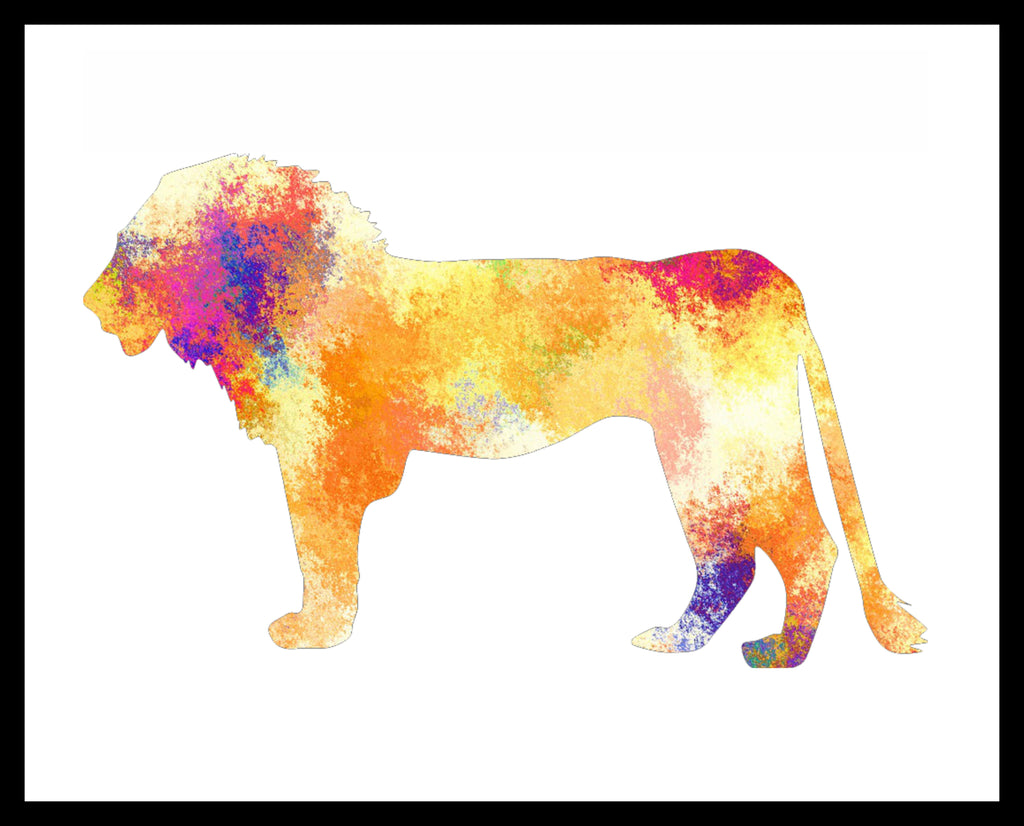 Printed Watercolor Art Print Lion Poster Art Image Unframed