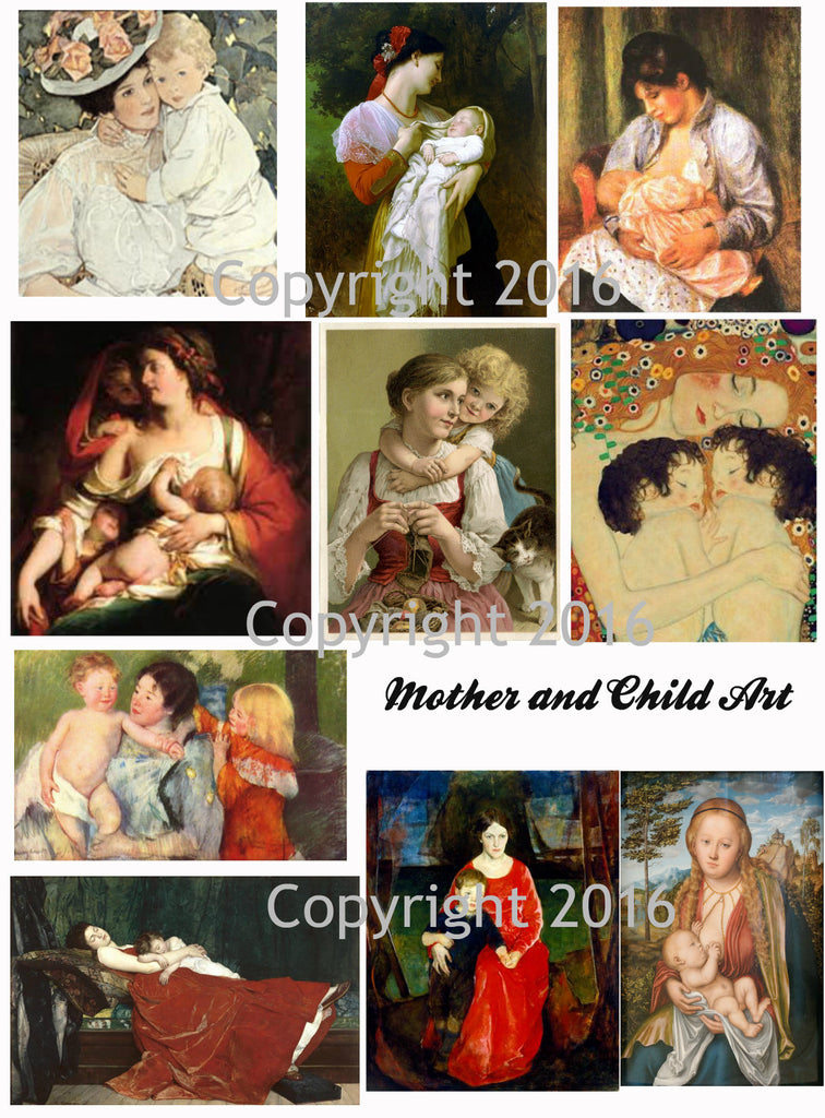 Vintage Mother and Child #103 Images Printed Collage for Mother's Day  Sheet 8.5 x 11""