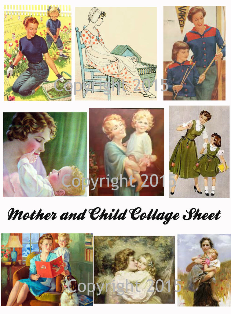 Vintage Mother and Child #105 Images Printed Collage for Mother's Day  Sheet 8.5 x 11""