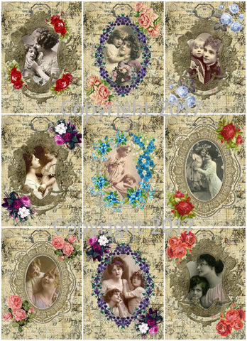 Mother and Child Framed Images Collage Sheet 104 for Mother's Day