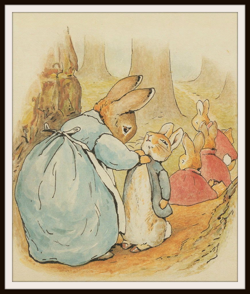 Mother Rabbit and Bunnies by Beatrix Potter Art Print 8 x 10""