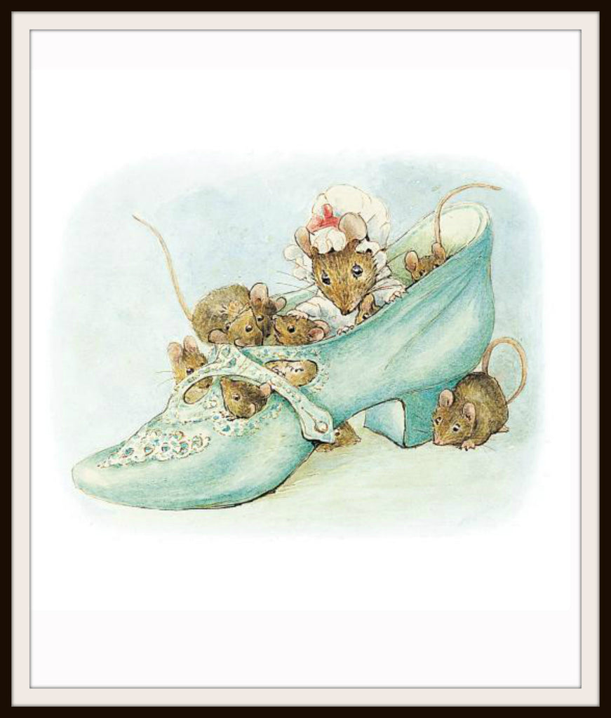 Mouse and Babies in a Shoe by Beatrix Potter Art Print 8 x 10""