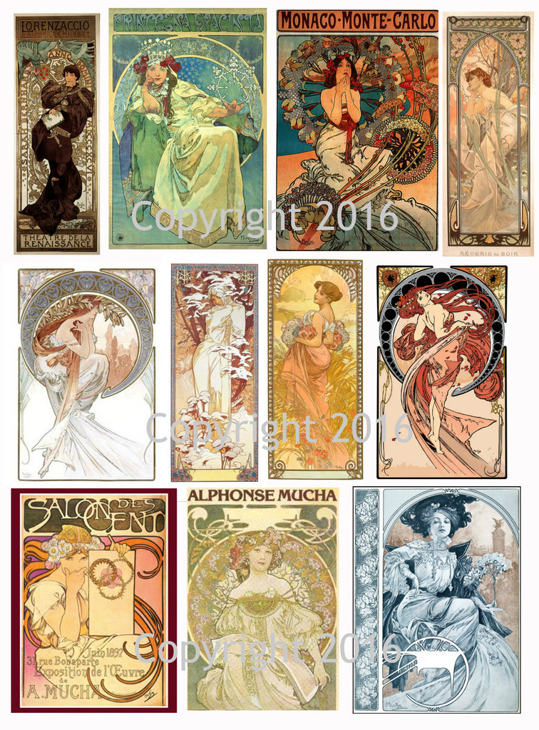 Alphonse Mucha Art Images Collage Sheet #103