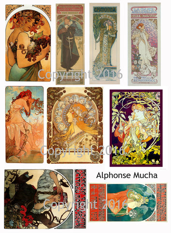 Alphonse Mucha Art Images Collage Sheet #104