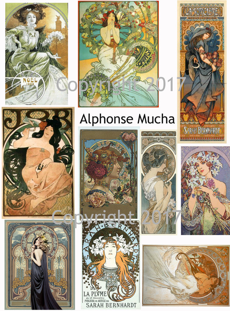 Alphonse Mucha Art Images Collage Sheet #105