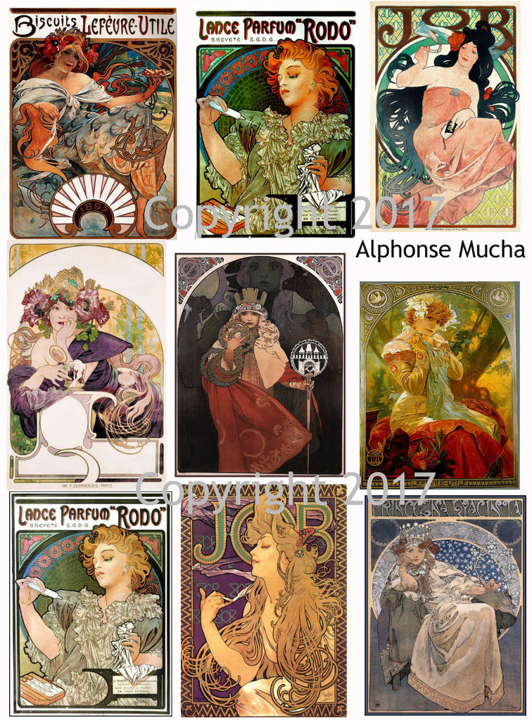 Alphonse Mucha Art Images Collage Sheet #106