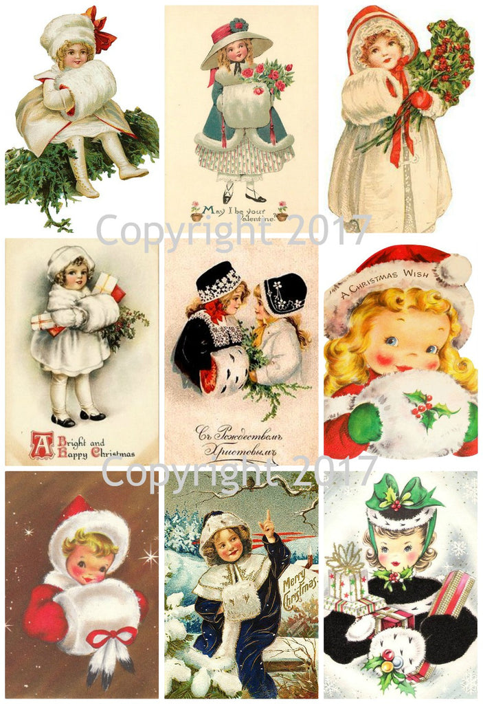 Vintage Winter Children with Muffs Christmas Images Collage Sheet
