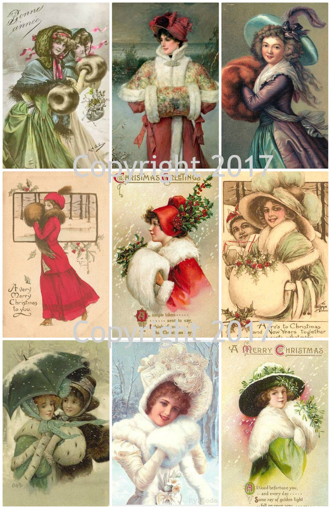 Vintage Winter Women with Muffs Christmas Images Collage Sheet
