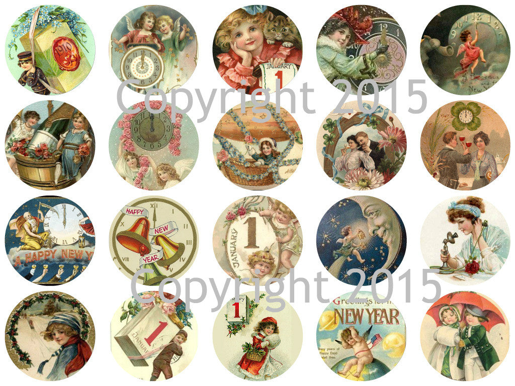 "Printed Vintage Victorian New Years 1 3/4"" Circles Collage Sheet"