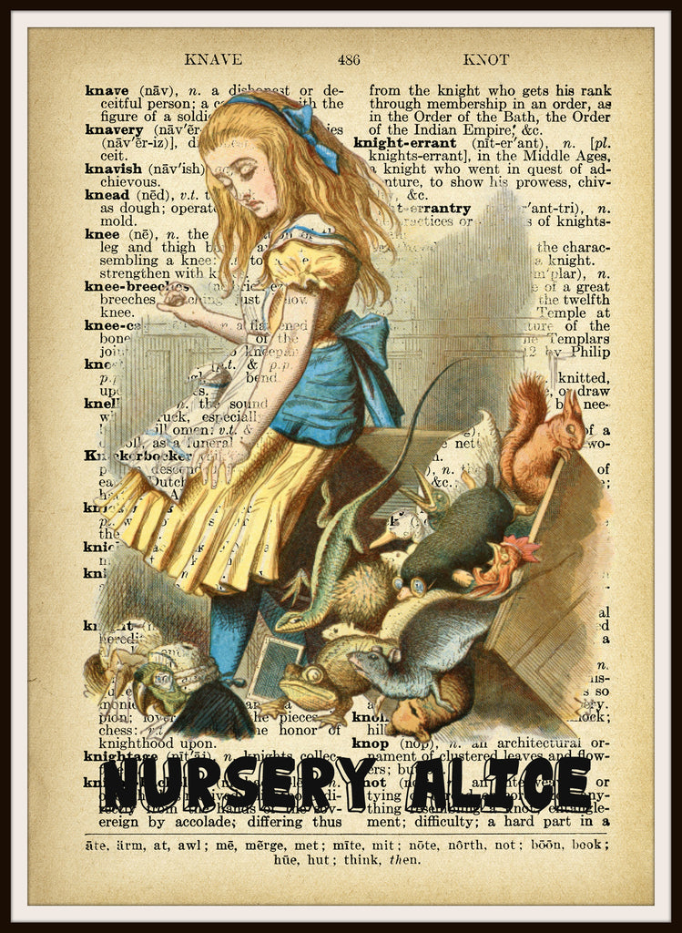 Nursery Alice in Wonderland Vintage Art Print on Ephemera Dictionary Book Page Background, 8 x 10""