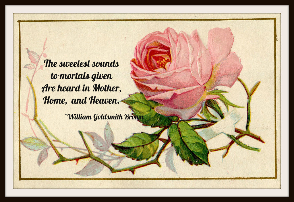 "Vintage Mother's Day Art Print  ""The Sweetest Sounds to Mortals Given"" 8.5 x 11"""