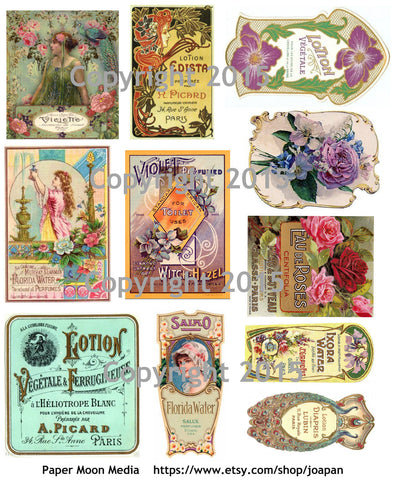 Vintage Victorian Perfume Labels #2  Collage Sheet for Instant download